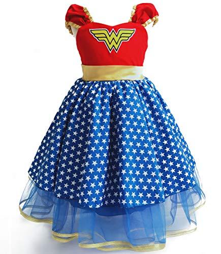Costume da principessa Wonder Woman deluxe, travestimento da supereroe, per Halloween, feste in maschera e feste di Natale Blu 4-5 Anni