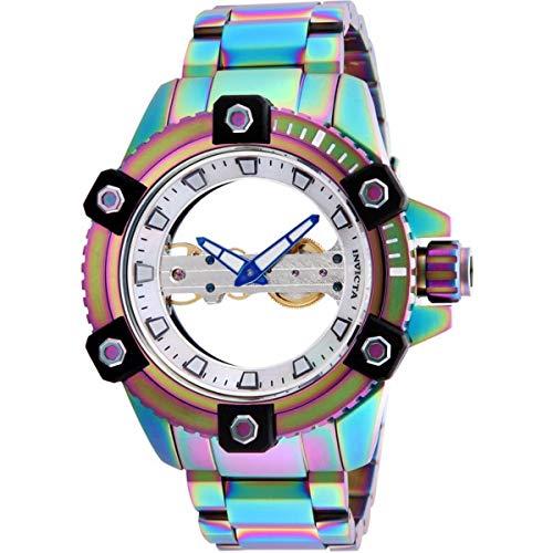 Invicta 26488 Reserve White Mother of Pearl Reloj de hombre esqueletonizado y pulsera de acero inoxidable iridiscente con caja iridiscente