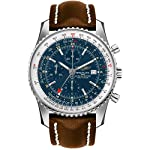 Breitling Watches Breitling Navitimer World Blue Dial Men's Watch on Brown Leather Strap A2432212/C651-443X