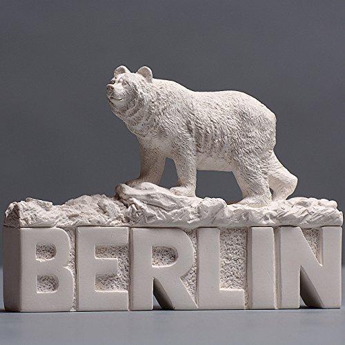 Berlin Schriftzug mit Berliner Bär Skulptur aus hochwertigem Zellan, echte Handarbeit Made in Germany, Büste in weiß, 14cm