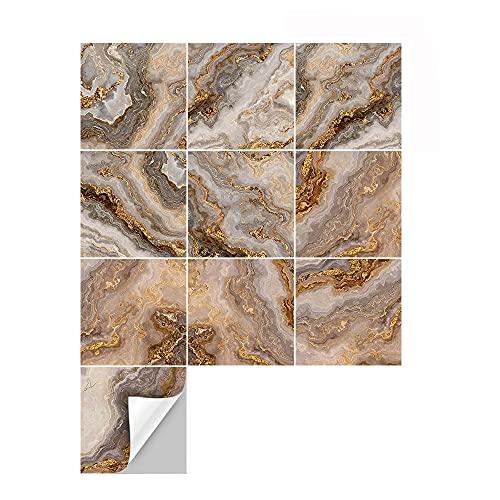 azulejos adhesivos cocina,10 piezas de pegatinas de azulejos de mármol de imitación dorada, pegatinas de pared de decoración de dormitorio y sala de estar pegatinas de azulejos -15cm