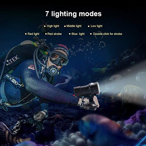 Oumefar IPX8 18000lm 500M Interruptor de Doble presión Linterna subacuática Linterna de Campamento Impermeable para Herramienta subacuática