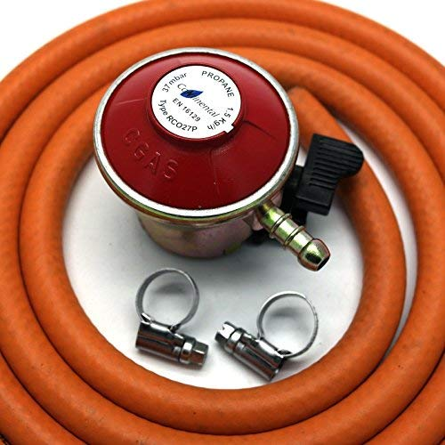 Patio Gas Regulator 27Mm Clip On With 2M Hose + 2 Clips Fits Calor/Flogas