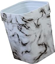 TOPBATHY Marble Trash Can Bamboo Garbage Can Vintage Waste Bin Wastebasket Garbage Container Bin for Home Office Bathroom ...