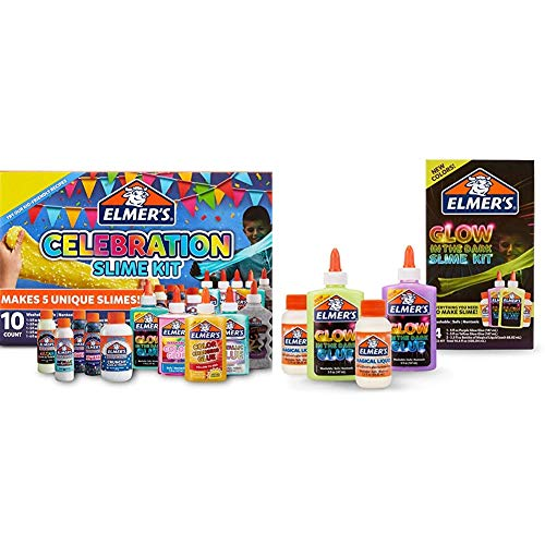 Elmer?S Celebration Slime Kit | Slime Supplies Include Assorted Magical Liquid Slime Activators and Assorted Liquid Glues, 10 Count & Glow in The Dark Slime Kit | Slime Supplies, 4 Piece Kit