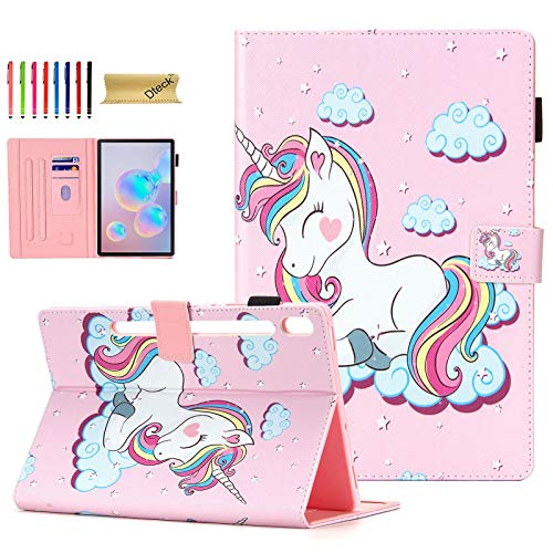 """Price comparison product image Galaxy Tab S6 10.5 Case 2019 Model SM-T860,  Dteck Tablet Cover for Samsung Tab S6 10.5"""",  Slim Fit Flip Leather Stand Smart Auto Sleep / Wake Protective Case for Samsung Galaxy Tab S6- Smile Unicorn"""
