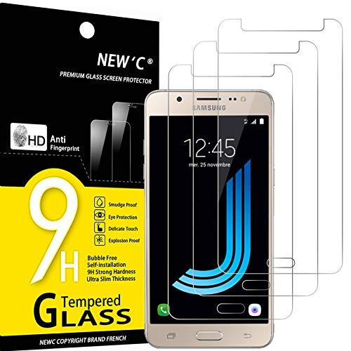 NEW'C 3 Stück, Schutzfolie Panzerglas für Samsung Galaxy J5 2016, Frei von Kratzern, 9H Festigkeit, HD Bildschirmschutzfolie, 0.33mm Ultra-klar, Ultrawiderstandsfähig