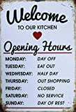 Welcome to Our Kitchen Opening Hours Funny Tin Sign Kitchen and Dining Room House Decor Food Drink Bar 20 cm x 30 cm
