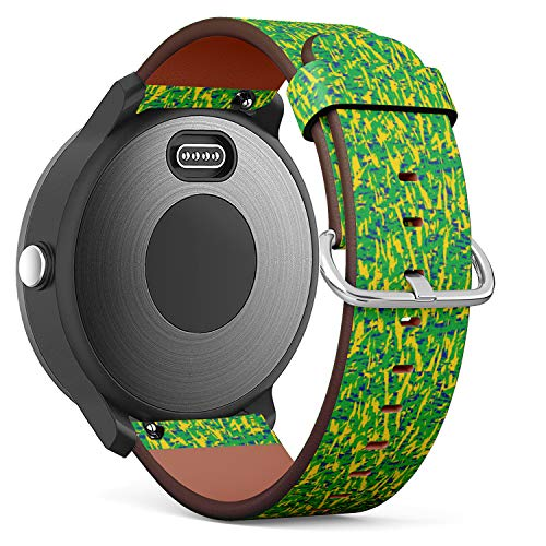 Replacement Leather Strap Printing Wristbands Compatible with Garmin Vivoactive 3 / Vivoactive 3 Music/Vivomove - Vector Background in Brazil Flag Concept