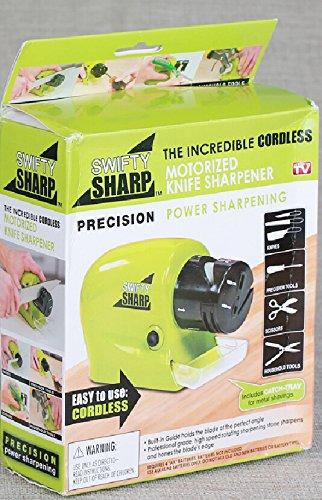 Kitchen Swifty Sharp - Affilacoltelli elettrico motorizzato per affilare la potenza con vassoio per trucioli di carne