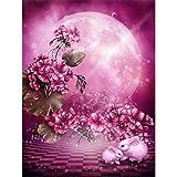 Kit de pintura de diamantes 5D,Conejo animal flor roja lunar Diamante Pintura Kits DIY 5D Kit de Pintura de Diamante,para decoración de pared del hogar 30x40 cm(Sin marco)