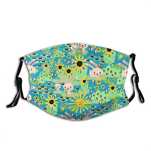 Masks,Face Cover Cute Spring Bunny Rabbit Carrot Sunflower Garden Green Background Balaclava Reusable Windproof Anti-Dust Mouth Bandanas Camping Motorcycle Running Neck Gaiter with 2 Filters