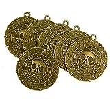 6x Punk Halloween Piraten Aztekischer Münze Medaillon Schädel Halskette Bronze