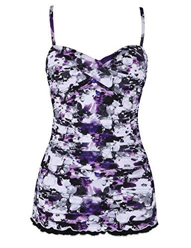 Hilor Women's One Piece Swimsuits Tummy Control Swimwear Ruffle Swimdress with Panty Purple Floral 16