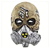 Halloween Horror biochimica Gas Mask Hood, Gruppo Carnival Halloween Party Magic Dance Series Halloween Costume Party Carnevale Cosplay (Color : Silver)
