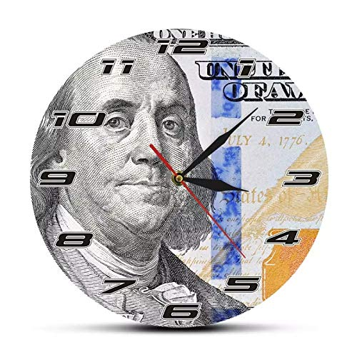 Reloj de Pared Benjamin Franklin Cien dólares Diseño de Dinero Reloj de Pared Arte del Dinero Nuevo Reloj de Pared con Billete de 100 dólares Regalo para emprendedor