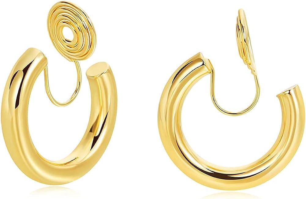 30mm Thin Gold Hoop Clip On Earrings for Women, Clip on Thin Hoop Earrings No Pierced Earrings for Girls