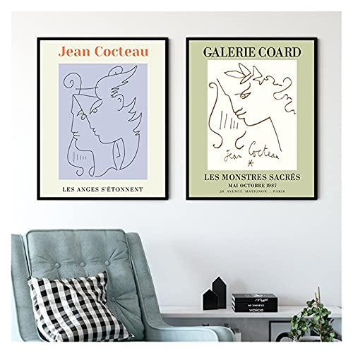 GKMM Exposition Jean Cocteau Affiches Vintage French Vintage Ancien Painting sur Toile Image Murale pour la Salle de séjour Décor 20x28x2 inch Pas De Cadre