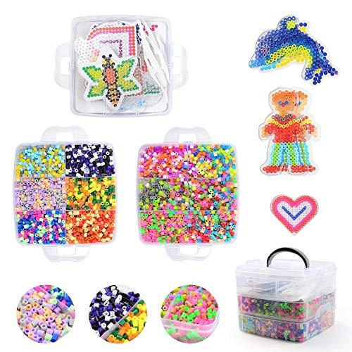 Herefun 9000 Perles à Repasser, 36 Couleurs Magique Perles de Loisirs Créatifs Kits, 6 Plaques+3 Brucelles+2 Repassage Papier Accessoires Perles de Mode Kit pour DIY Enfants Adultes (C)