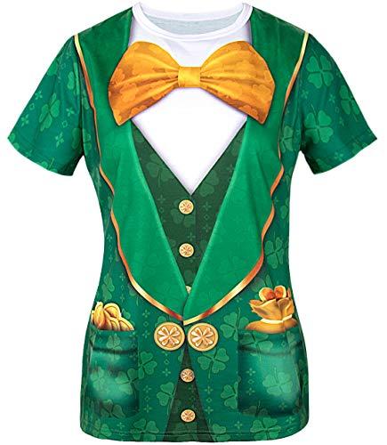 COSAVOROCK Disfraz de Leprechaun Mujer Camiseta de San Patricio
