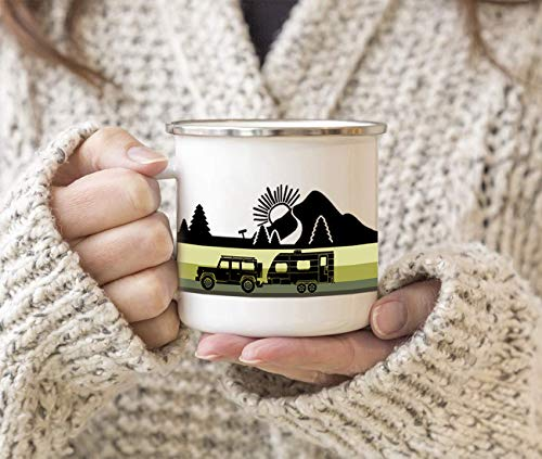 Product Image 3: FuanYuanfang Funny Camper Coffee Mug – ROAD TRIPPER Enamel Campfire Mug – Mountain Camping Coffee Cup, Nature Outdoor Hiking Birthday Christmas Camp Lover Gifts for Man, Woman, Friends 11oz