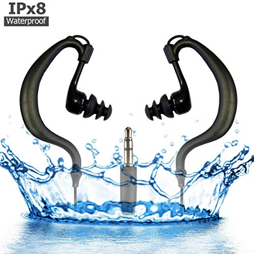 MIUSUK Waterproof Swimming Headphones with Removable Watertight Earbuds Tips 360Degree Ear-Hook 3.5mm Jack Companion for iPod,Waterproof MP3 MP4 Player and Waterproof Phone Bags (Black no MIC)