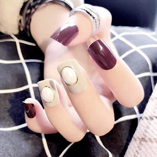 CSCH Faux ongles Carré Brillant Faux Ongles Perle Acrylique Art Appuyez sur les Ongles Pure Color Full Cover Faux Ongles Conseils pour les femmes et les filles