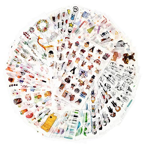 Mayplous 72 Blätter Scrapbooking Sticker Journal Sticker Erwachsene Washi Aufkleber Planner Aufkleber Decor Aufkleber 12 Themen Sortiert für Tagebuch Notizbuch DIY Kunst und Handwerk (Unschuld)
