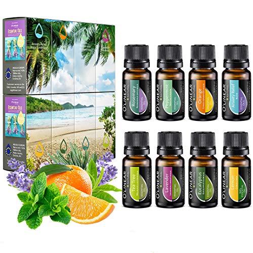 Ätherische Öle Set (8x10ml) - Essential Oil für Aromatherapie - Duftöl für Diffuser - 100{2b8527a025dd169ab4ce7b73a01d82cef618a6ea7e841d8e8b4f7024d5352a63} Rein Öle - Lavendel, Pfefferminz, Rosmarin, Orange, Teebaum, Eukalyptus, Zitrone, Anti-Stress Öl