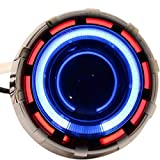 Rawat Projector Lamp Headlight with Dual Ring COB LED Angel Eye Rings