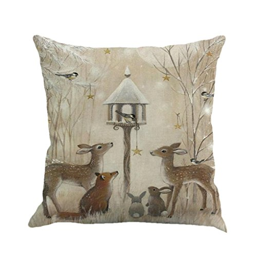 Xmas Throw Pillow Covers, Keepfit Merry Christmas Home Decor Pillow Case Holiday Season Decorations for Couch, Chair, Sofa, Assorted Designs (Reindeer and Rabbit)