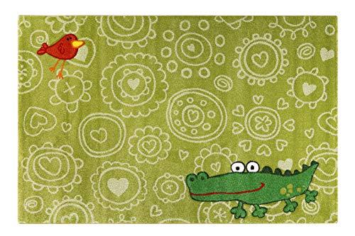 Sigikid I Moderner Kurzflor Kinderteppich, Kinderzimmer für Mädchen & Jungen I Crocodile | SK-22425-040 (160 x 225 cm, grün)