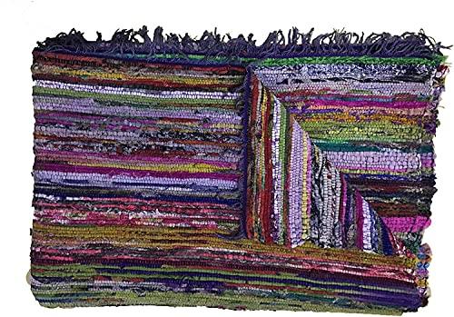 Tapis chindi indien - Fait à la main avec des bouts de tissu multicolores recyclés - Tapis décoratif style Boho - 150 x 90 cm (Blue)