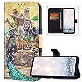 Custodia a portafoglio per Huawei Y6P in pelle PU con design carino [cavalletto] [slot per schede] [chiusura magnetica] anteriore e posteriore Bookstyle Folio custodia protettiva per Huawei Y6P, Zoo