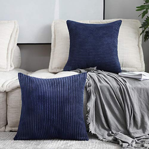 Home Brilliant Striped Decorative Corduroy Velvet Large Euro Sham Couch Throw Pillow Cover for Bed, 24 inch (60cm), Set of 2, Navy Blue