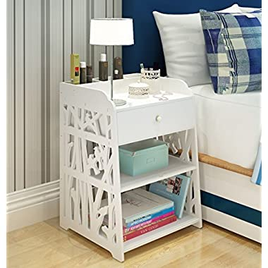 Mybestfurn Heightening Drawer Nightstand With 3 Small Storage Cell On Top Carved Bedside Table Bedend Cabinet Multipurpose Dampproof Storage Furniture - 1 Drwaer 40X40X60CM MB276N