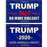 Jetec 2 Pieces Donald Trump for President 2020 Flag NO More Bullshit Flag Keep America Great Flag
