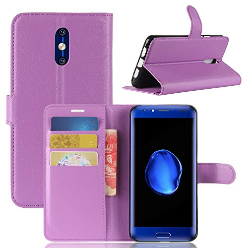Tasche für Doogee BL5000 Hülle, Ycloud PU Kunstleder Ledertasche Flip Cover Wallet Hülle Handyhülle mit Stand Function Credit Card Slots Bookstyle Purse Design lila