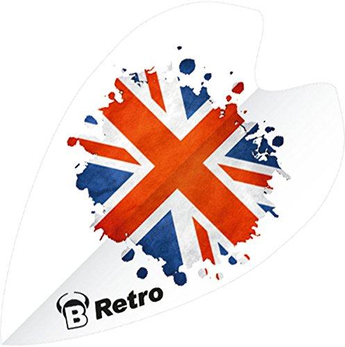 Unbekannt BULL'S Retro Dart Flights 100 Micron weiß mit Flagge Groß-Britannien