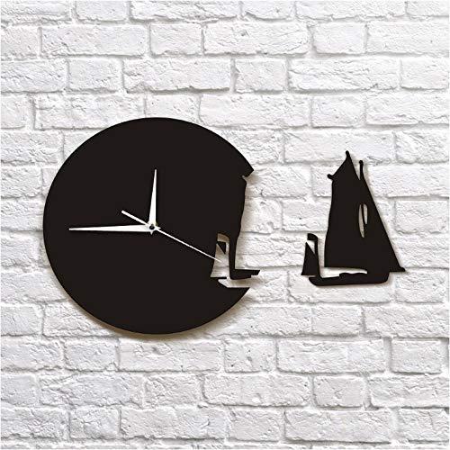 ZYZYY 1 stuk jacht verlaten muur klok modern ontwerp huisdecoratie zee stijl muur horloge de zeilboot schip klok zeelieden mariniers gift