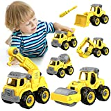 AUZEEG 6-in-2 Construction Vehicle Toys, Kids DIY Take Apart Truck Set, Best Vehicle Toys for 3-6 Boys Girls Toddler with Cement Mixer/Sand Truck, Crane Machine, Bulldozer, Excavator, Road Roller
