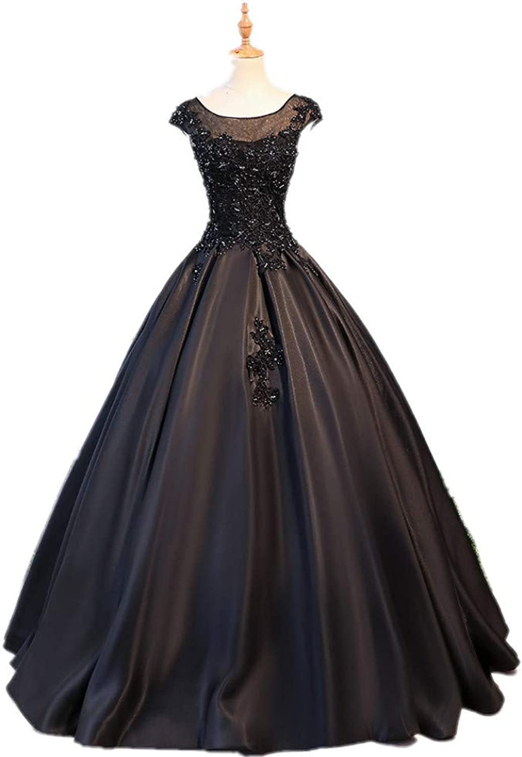 Darcy74Dulles Women's Black Sleeveless Quinceanera Dresses Appliques Lace Prom Ball Gowns Sweet 16 Dresses Plus Size