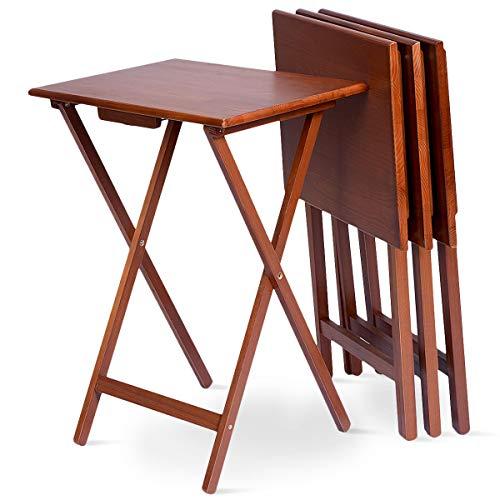 GOPLUS 4-Teiliger Klapptisch, Klappbarer Beistelltisch Holztisch aus Kiefer, Balkontisch Campingtisch Gartentisch Zusammenklappbar Platzsparend, geeignet für Balkon Garten Wohnzimmer Esszimmer, Braun