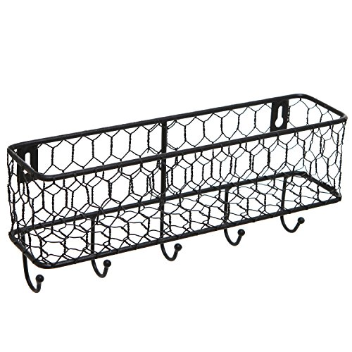 Modern Black Metal Wall Mounted Key and Mail Sorter Storage Rack w/Chicken Wire Mesh Basket