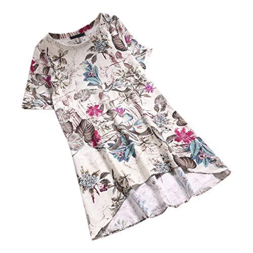 MRULIC Damen Frauen Sommer Casual Kurzarm Lose T-Shirt Baumwolle Leinen Bluse Tops Geschenk zum Muttertag (EU-44/CN-2XL, C-Weiß)