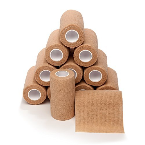 4-in Wide Self Adherent Cohesive Wrap Bandages (12 Pack), 5 yds Self Adhesive Non Woven Bandage Rolls, Brown Athletic Tape, Hand & Wrist Wraps, Ankle Tape, Premium-Grade Medical Stretch Wrap