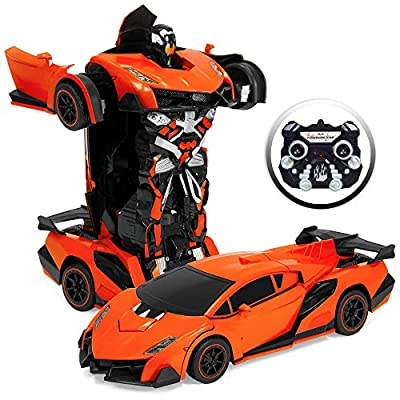 Best Choice Products 1/16 Scale Kids Transforming RC Robot Race Car with Sounds, LED Lights