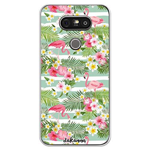 dakanna Funda Compatible con [LG G5 - G5 SE] de Silicona Flexible, Dibujo Diseño [Flamencos Retro con Flores Tropicales], Color [Borde Transparente] Carcasa Case Cover de Gel TPU para Smartphone