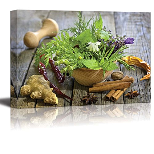 Still Life Closeup of Fresh Herbs and Spices on Vintage Wooden Boards - Canvas Art Wall Art - 16