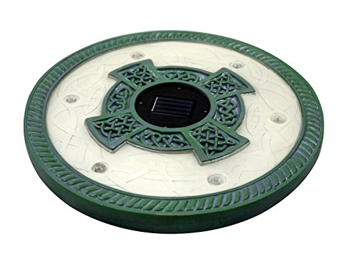 Set of 3 Solar Power 6 LED Round Stepping Stones, Great for Outdoor Decor Lighting (Limestone Green)